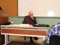 Fred Katz speaks with college students at CCBC Catonsville on Yom Hashoah, Holocaust Remembrance Day, last week. (Provided)