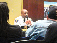 Commissioner Anthony Batts responds to a question from a community member at the May 5 Public Safety Forum in the city's Northwest District. (Heather Norris)