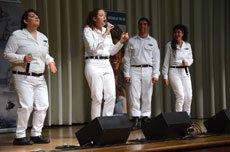 From left: Israel Defense Forces Naval Ensemble singers Neta Barzilai, Adar Hayat, Ohad Sabagi and Zlil Halaf performed for approximately 400 attendees of the FIDF event at Beth El Congregation's Offit auditorium. (Melissa Gerr)