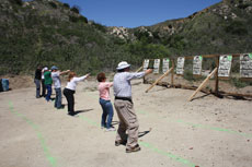 Shooters at the Angeles Shooting Range in L.A. take aim. (Anthony Weiss/JTA)