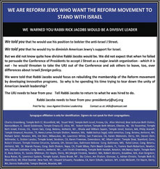 "An advertisement in which 41 Reform Jews accuse Union for Reform Judaism (URJ) President Rabbi Rick Jacobs of ""divisive"" leadership for his threat to pull URJ out of the Conference of Presidents over the rejection of J Street. (Jews Against Divisive Leadership)"