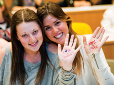 Students at Penn show their support for the Love is Louder movement, an initiative that provides help to those suffering with issues such as bullying, discrimination, loneliness and depression.   (Provided)
