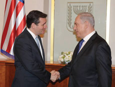 "The concern for Sen. Ted Cruz, pictured here with Israeli Prime Minister Benjamin Netanyahu, is that  ""the national security threats to Israel and to the United States has never been greater."" (Ben Gershom/GPO/FLASH90)"