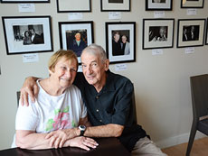 Sandie and Fred Nagel reported on Baltimore's celebrity galas for 18 years for the Baltimore Jewish Times. Fred's photos are now on exhibit at Nancy Café by SNAC through July 31. (Photo by Melissa Gerr)
