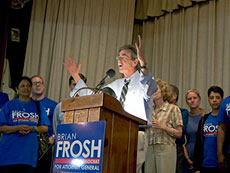 Surrounded by his supporters, Maryland state Sen. Brian Frosh, the Democratic Party nominee for attorney general, delivers his victory speech on Tuesday night at the Woman's Club of Chevy Chase. (Marc Shapiro)