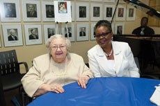 Elaine Mintzes (left)  and Paulette Carter celebrate the dedication of the Alvin and Elaine Mintzes Fund for the Care of  Animals at Levindale on June 19.  (Provided)