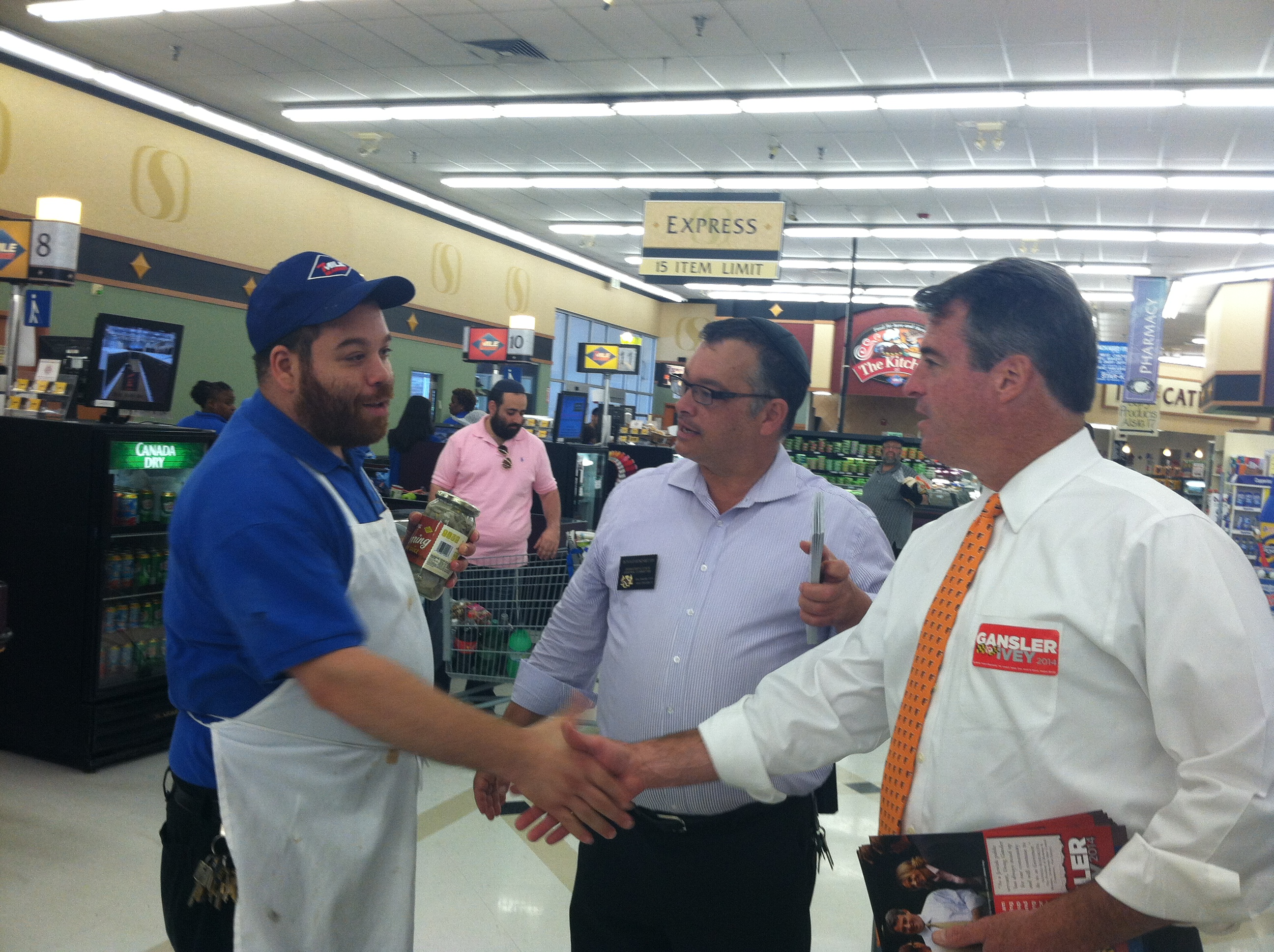Attorney General Doug Gansler, who is running for governor, spent the morning at Seven Mile Market talking to customers and employees.