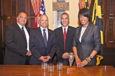 Members of the Ashkelon delegation visit with Baltimore Mayor Stephanie Rawlings-Blake.