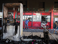 The scene of a gas station in  Ashdod that was hit directly by rocket fire from Gaza on the fourth day of Operation Protective Edge, July 11, 2014. The rocket caused explosions and three people were injured, one of them critically. (Hadas Parush/Flash90)