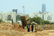 An Iron Dome missile battery is in place near Tel Aviv. (Flash 90)