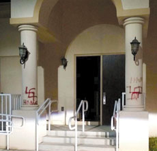 Spray-painted swastikas were the work of vandals at Torah V'Emunah in North Miami Beach. (Yona Lunger)