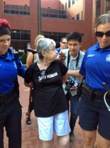 Holocaust survivor Hedy  Epstein, 90, is arrested during a protest of the Michael Brown shooting in St. Louis. (Nancy Cambria/MCT/Newscom)