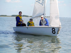 Instructor Maggie Flanigan teaches campers the ropes during their first day on the Chesapeake Bay. (provided)