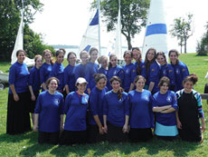 Campers from the 2013 Orthodox girls sailing camp pose at the Baltimore County Sailing Center. (provided)