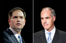 Sen. Marco Rubio (left) and Sen. Bob Casey (Consolidated News Photos/Newscom, Bill Clark/CQ Roll Call/Newscom)