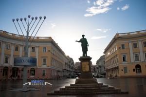 Odessa square in winter