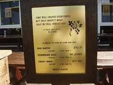 A memorial plaque for the victims of the 2003 suicide bombing at Mike's Place in Tel Aviv. (Avishai Teicher via Wikimedia Commons)