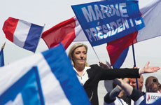 The leader of France's far-right National Front, Marine Le Pen, seen here at a May Day demonstration in Paris in 2012, has a growing following among Jews. (Pascal Le Segretain/Getty Images)