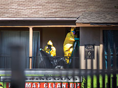 hazardous material crew cleans the apartment of Thomas Eric Duncan. Duncan was the first Ebola case  diagnosed in the U.S. He died on Oct. 8.