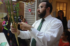 Rabbi Ariel Sadwin explains the  significance of the etrog and lulav to students visiting his home.
