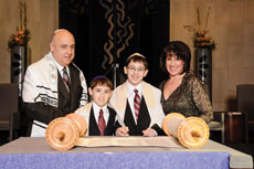 Gary, Jordan, Alec and Stephani Braverman  celebrated Alec's bar  mitzvah in January 2013. Alec and his parents all read from the Torah. (Provided)