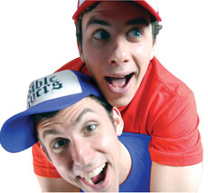 The Bible Players Andrew Davies (top) and Aaron Friedman combine Torah, comedy and improv to bring Jewish stories and values to life for young audiences and adults. (Provided)