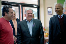 Republican Larry Hogan visited  Goldberg's Bagels during a campaign swing through Pikesville on Oct. 26. (Marc Shapiro)