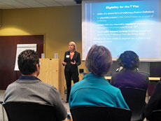 Morgan Weibel of Tahirih Justice  Center discusses the legal options available to victims of trafficking. Photo by Heather Norris