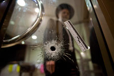 A bullet hole inside Kehilat Bnei Torah is a stark reminder of the savagery that claimed the lives of four rabbis. (Photo Yonatan Sindel/Flash90)
