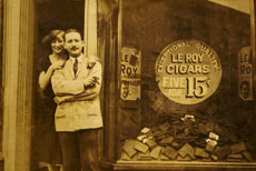 In this 1923 photo, Goldie Miller and her brother, Abe Kirson, stand proudly in the doorway of Kirson's Pharmacy.