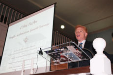 Dr. Gary Zola addresses the crowd in the historic Lloyd Street Synagogue (Photos courtesy of Jewish Museum of Maryland)
