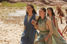 Minnie Driver (left) shows wisdom and anguish as Leah. With her is Rebecca (center) and Rachel.