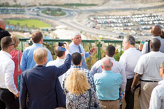 Benny Kasriel, mayor of Maale Adumim in the West Bank, speaks to a group of European politicians. (Provided)