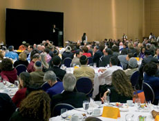 About 400 people attended the banquet Sunday night at the Association for Jewish Studies' 46th annual conference at the Hilton Baltimore, where Jonathan Sarna revealed details from a soon-to-be-published survey of members. (Marc Shapiro)