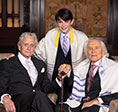 Kirk Douglas with son Michael and grandson Dylan pose for a photo at Dylan's bar mitzvah in May 2014.