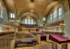 Beth Am's historic sanctuary was designed by renowned architect Joseph Evans Sperry. (Jeff Wouk)