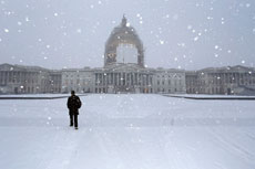 A light snow blankets the east front of the Capitol in Washington, D.C., on Jan. 6, as  Congress convenes its first session in eight years with republicans controlling both the House and Senate. (JONATHAN ERNST/REUTERS/Newscom)