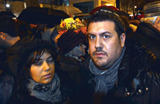 Joyce Halimi and her husband, Julien, take part in a vigil for victims of the deadly attack on a kosher supermarket in Paris.