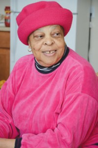 Dorothy Ridley pauses from unpacking. She moved from New York to be closer to her nieces.