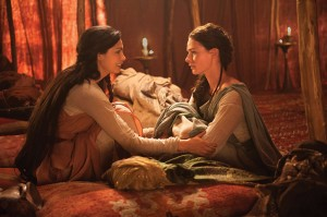 """Morena Baccarin (as Rachel) and Rebecca Ferguson (as Dinah) star in """"The Red Tent."""""""