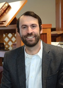 "Rabbi Noah Leavitt joined congregation Netivot Shalom in June 2014.  He appreciates the congregation's desire to intellectually explore Judaism  and that they are ""not afraid to wrestle with hard questions."" (Melissa Gerr)"