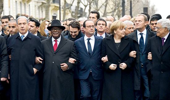 From left: Israeli Prime Minister Benjamin Netanyahu, Malian President Ibrahim Boubacar Keita, French President Francois Hollande and German Chancellor Angela Merkel lead a solidarity rally in Paris attended by more than 1 million supporters to condemn the brutal attacks recently seen in the city. (Aurelien Meunier/Getty Images)