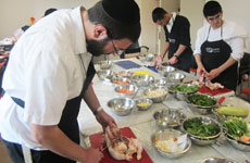 Haredi men training to be chefs at a culinary course run by the Jerusalem Kivun Center, Jan. 4, 2015.