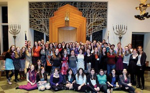 Participants in the first annual Masorti on Campus  Shabbaton gather for a group photo. They represent a  diverse group of campus communities seeking connection.