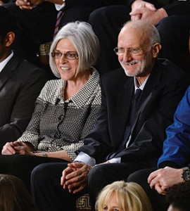 Alan Gross and his wife, Judy, attend President Barack Obama's State of the Union address on Jan. 20. (Olivier Douliery/Sipa USA/Newscom)