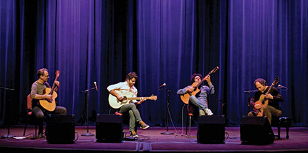 From left: Brian Gore, founder of International Guitar Night, Maneli Jamal, Diego Figueiredo and Andrew York. (Photo by Marc Shapiro)