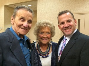 "Allen ""Rocky"" Rosen (left), pictured with wife Ruth and JCC of Greater Baltimore President Barak Hermann, worked at the JCC for more than six decades."