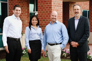 From left: Reuben Abraham, M.D., Mary Grace Tanguilan, M.D., Stanley Kman, D.O., and Peter LoPresti, D.O., stand  outside the new offices of Harford Primary Care, an affiliate of the University of Maryland Upper Chesapeake Health. (Provided)