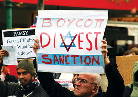 Demonstrators take part in a boycott, divestment and sanctions protest against Israel in Melbourne, Australia.