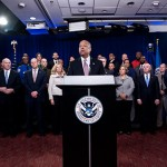 Secretary of Homeland Security Jeh Johnson hosts the media on Feb. 23 to discuss the need for a clean, full-year Department of Homeland Security appropriations bill for fiscal year 2015. (Official DHS photo by Barry Bahler.)